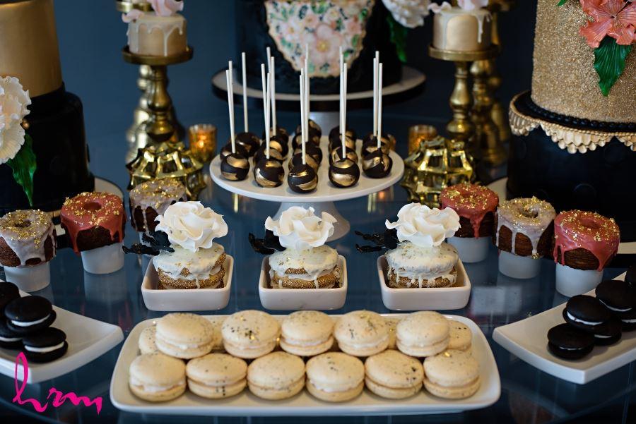 Wedding day food gold glittery desert table