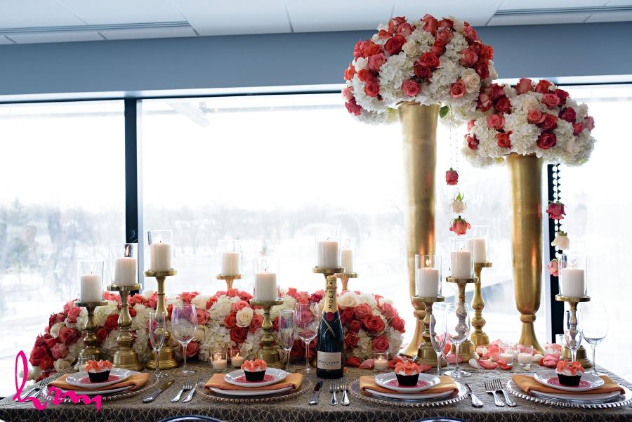 luxe wedding day flowers floral decor red and white and gold