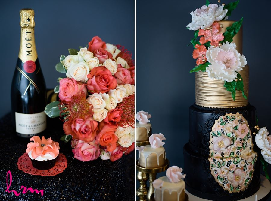 black gold red pink wedding day cake
