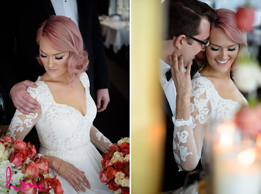 bride pink hair wedding day styled shoot