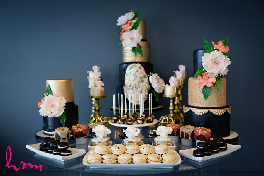 sweets table wedding black gold coral