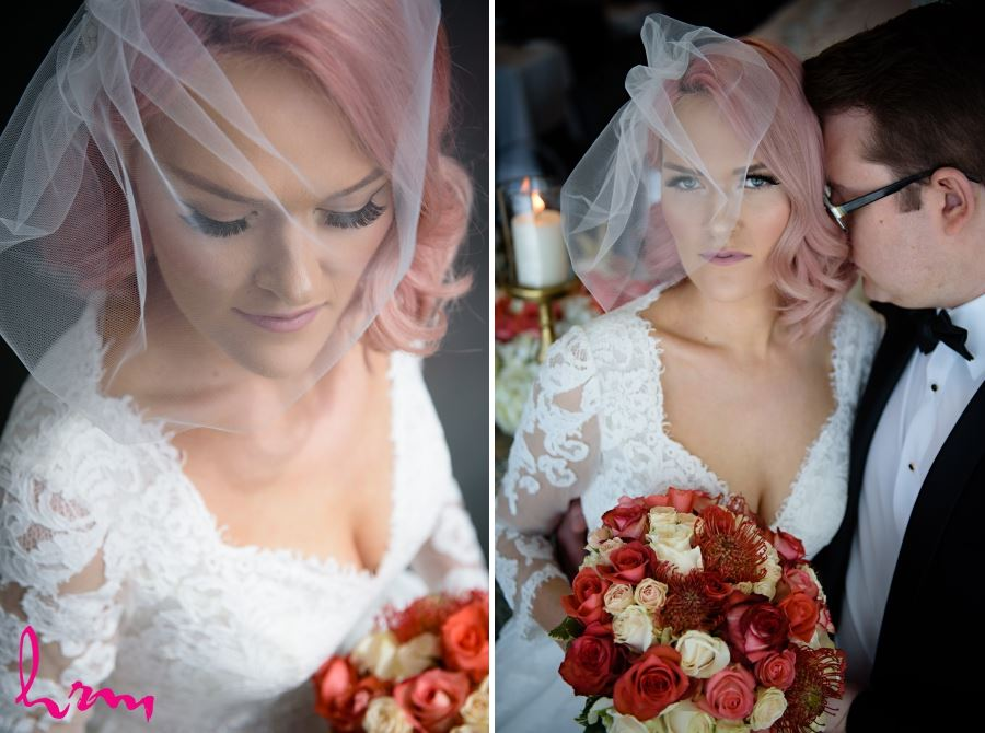 Bride blusher veil pink hair