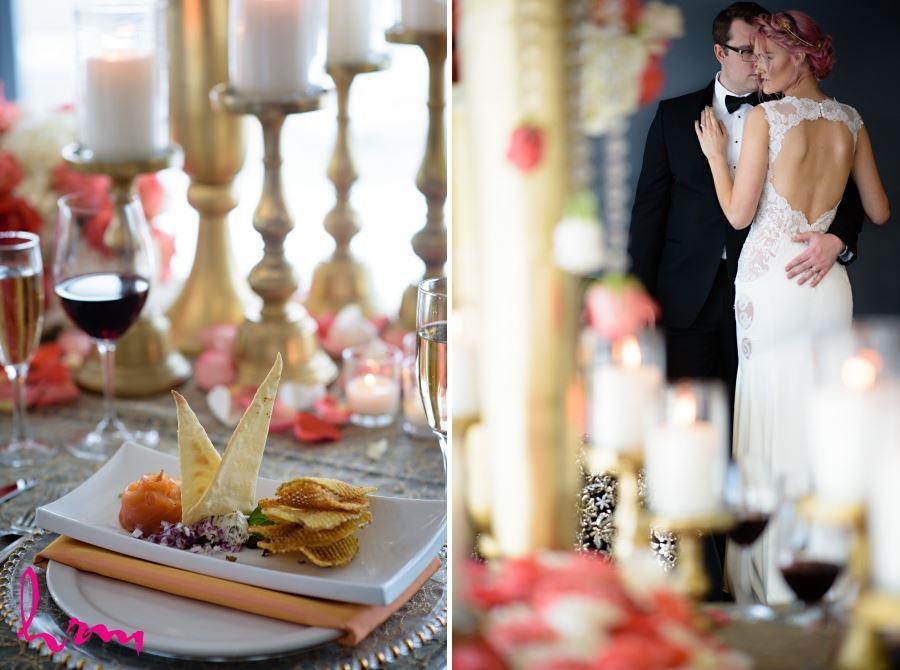 candles on gold pedestals wedding decor