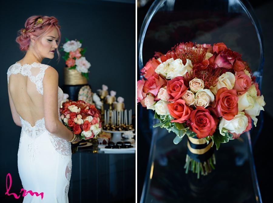 wedding day bouquet gold white red