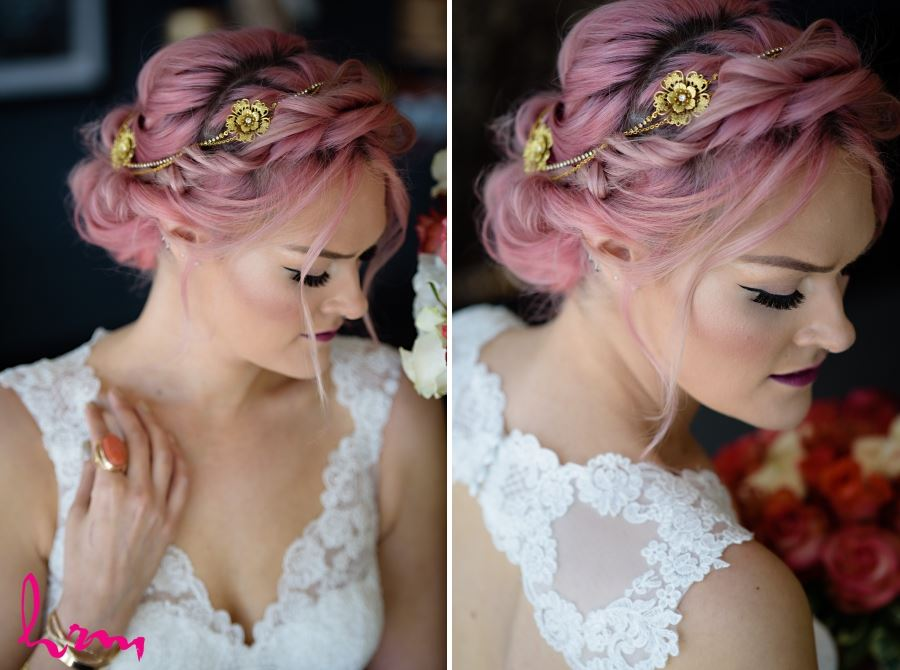 natural wedding day hair updo with gold hair piece headband