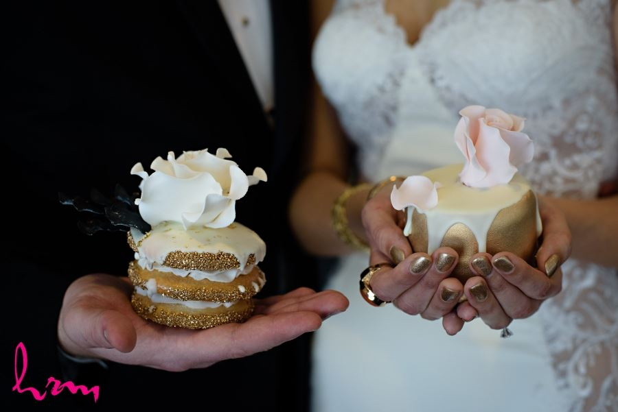 gold deserts mini cakes wedding day