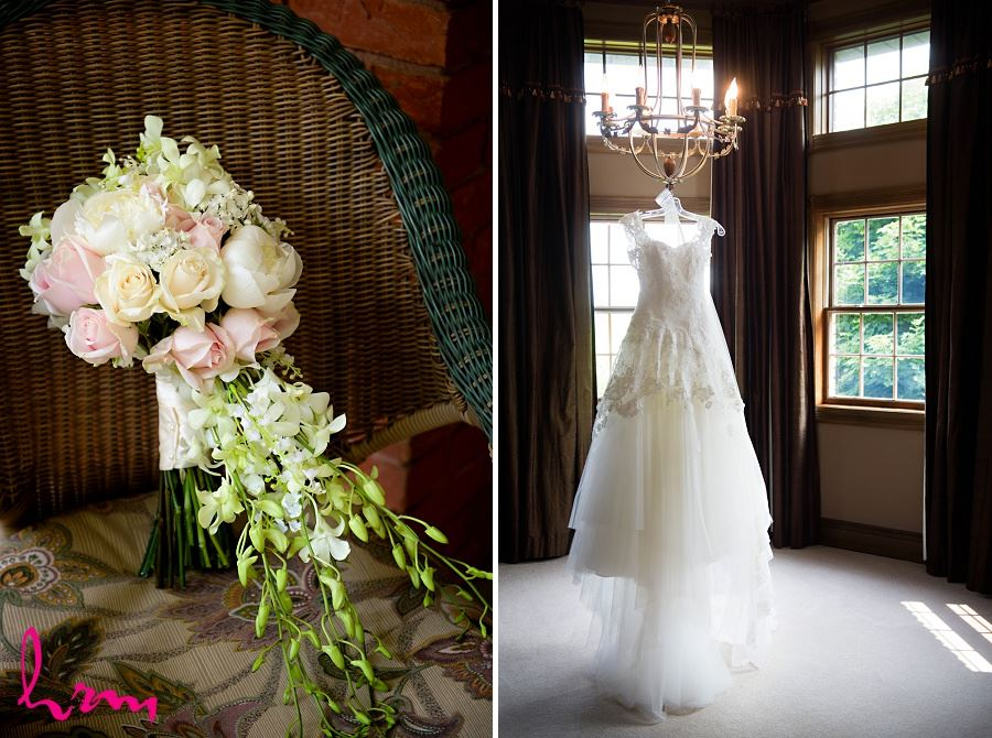 Sabrina's dress and flowers before London ON wedding HRM Photography