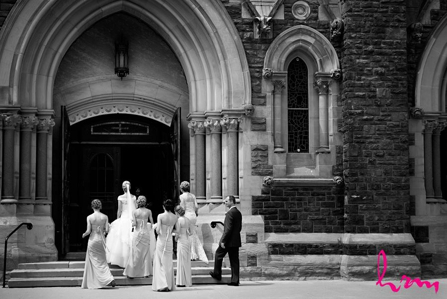 Sabrina and bridesmaids entering St Peter's Basilica London ON Wedding Photography