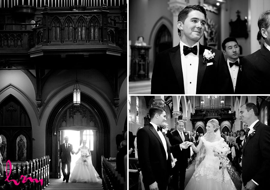 Black and white photo in St Peter's Basilica London ON Wedding Photography