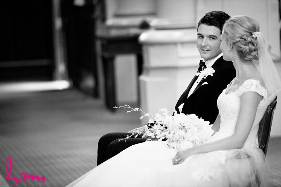 Black and white Sabrina + Winston St Peter's Basilica London ON Wedding Photography