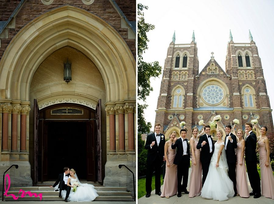 Wedding party outside St Peter's Basilica London ON Wedding Photography