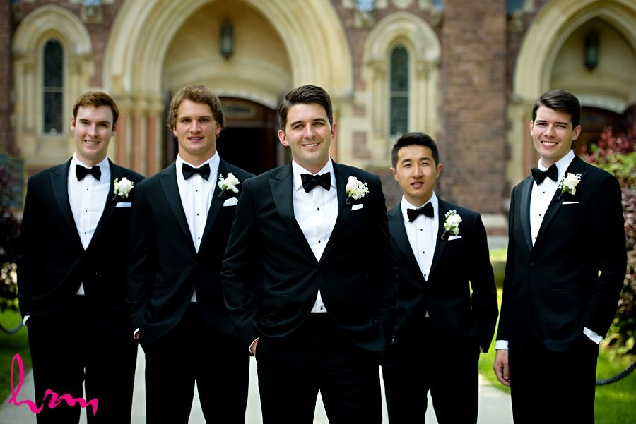 Groomsmen outside St Peter's Basilica London ON Wedding Photography