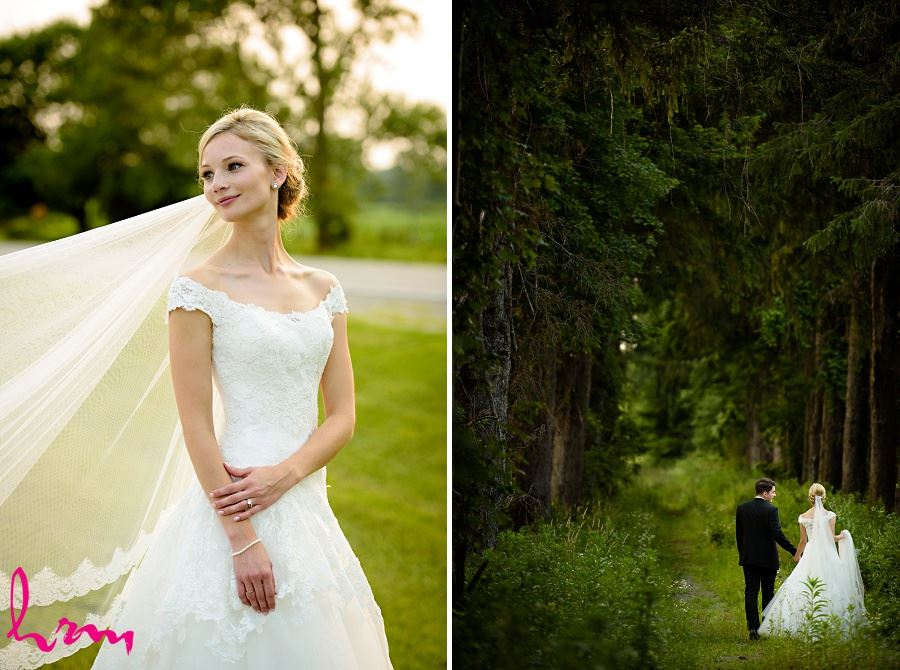 Sabrina + Winston in forest Bellamere Winery Event Centre London ON Wedding Photography