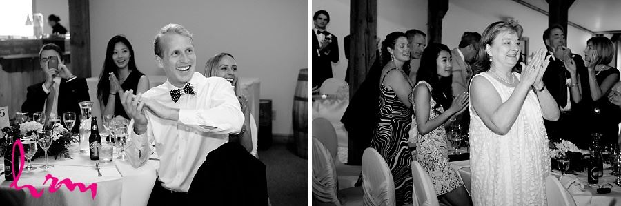 Black and white wedding guests Bellamere Winery Event Centre London ON Wedding Photography