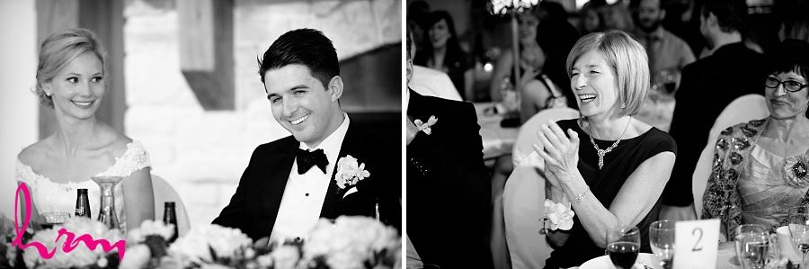 Black and white photo of Toasts at Bellamere Winery Event Centre London ON Wedding Photography