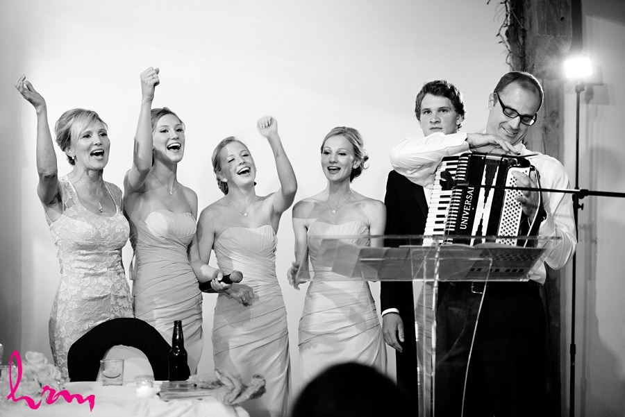 Black and white photo of singing to Sabrina and Winston at Bellamere Winery Event Centre London ON Wedding Photography