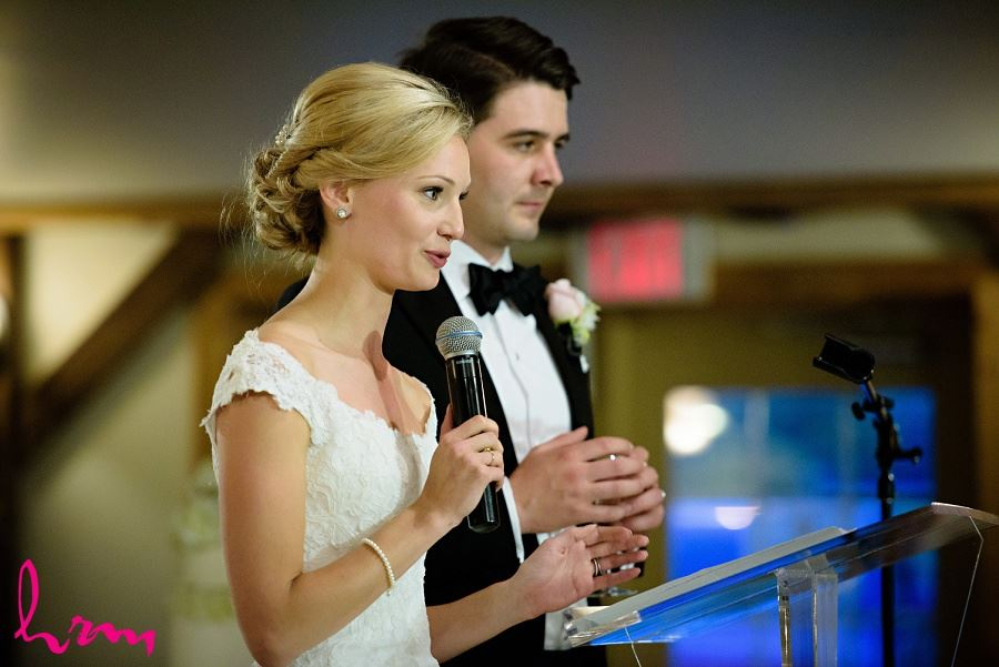 Sabrina and Winston speech at Bellamere Winery Event Centre London ON Wedding HRM Photography
