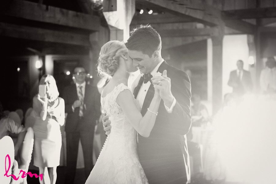 Black and white photo of first dance Bellamere Winery Event Centre London ON Wedding Photography