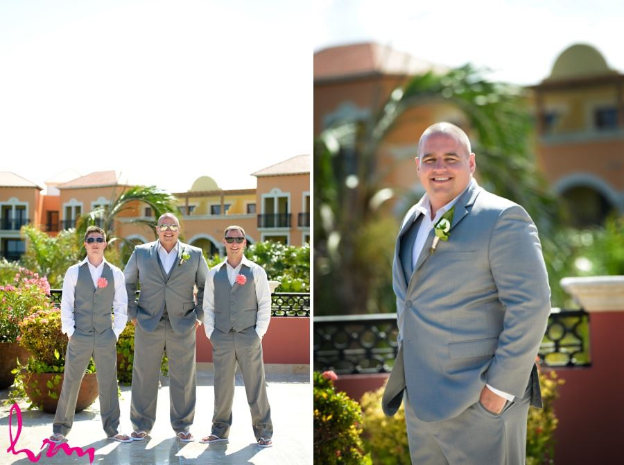 Groomsmen grey suit casual flip flops destination wedding