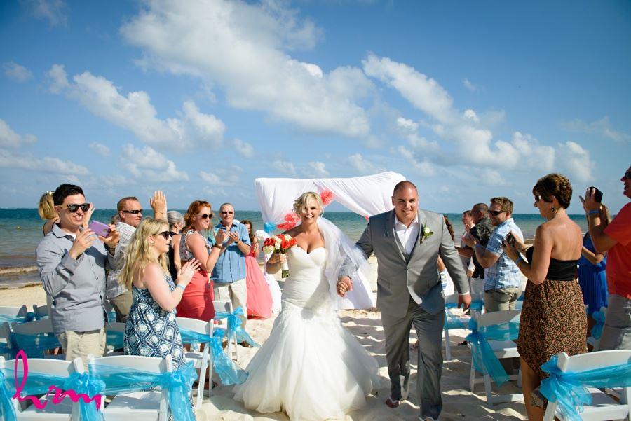 Mexico destination wedding Ocean coral and Turquesa - Puerto Morelos, Mexico ceremony