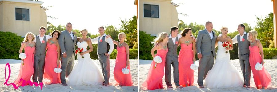 Wedding party in coral teal and gray destination wedding Mexico