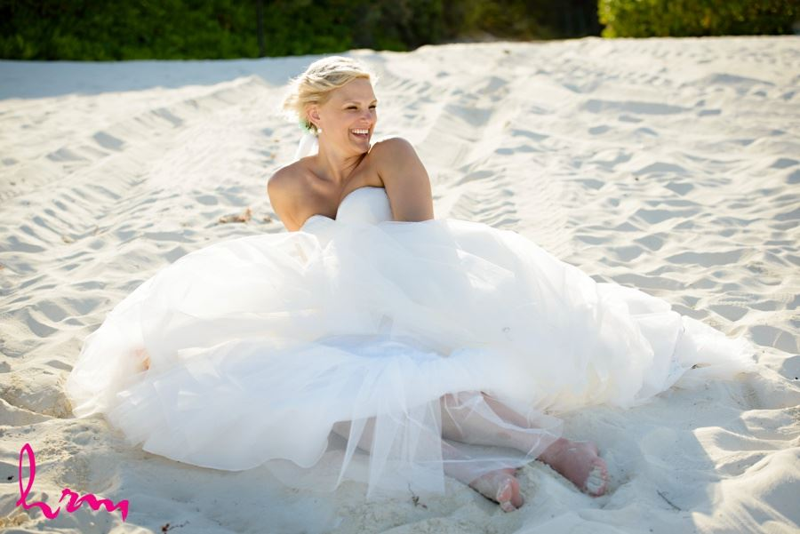 Bride in sand