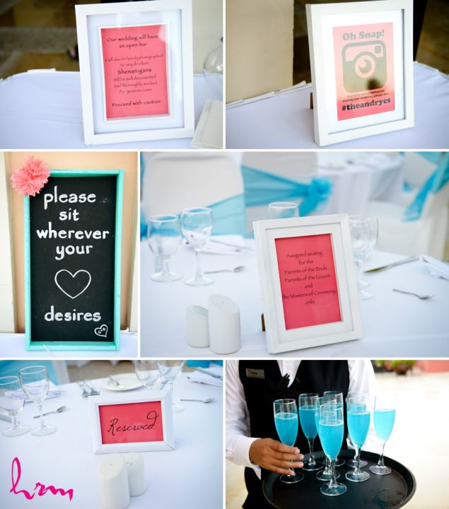 Reception decor Mexico destination wedding Ocean coral and Turquesa - Puerto Morelos, Mexico