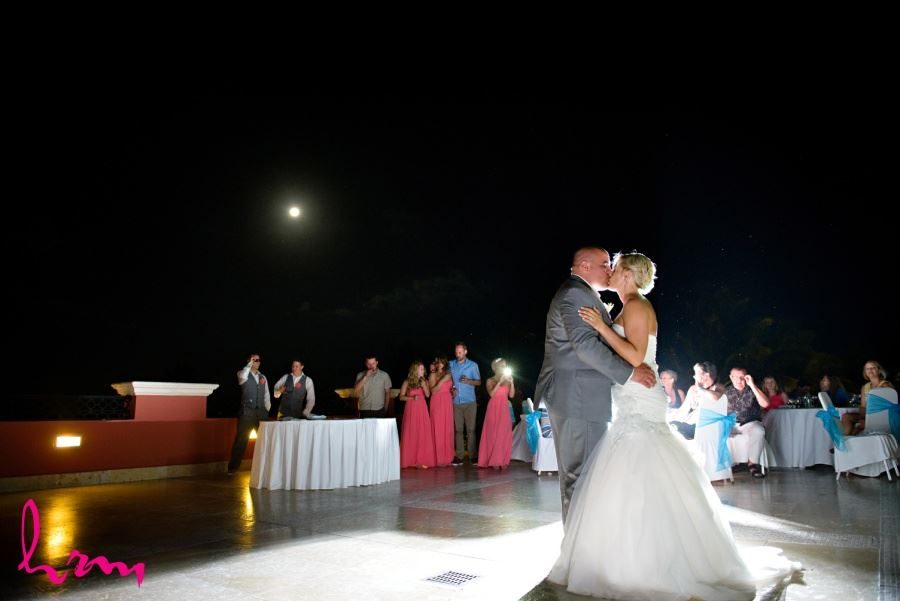 First dance shot with moon in the background