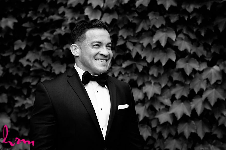 Black and white of Jose outside of Museum London London ON Wedding Photography