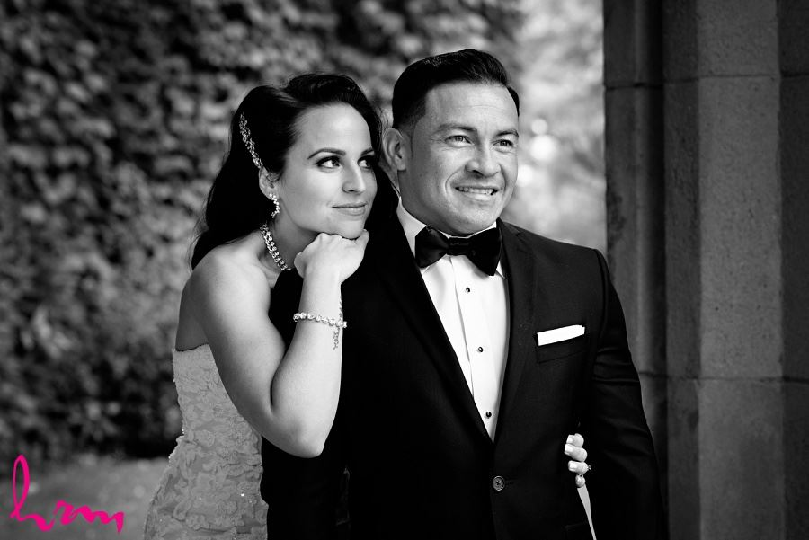 Black and white photo of bride and groom together outside of Museum London London ON Wedding Photography