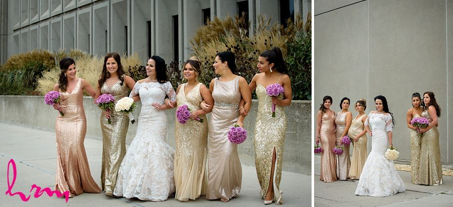 Lauren and Bridesmaids outside Museum London London ON Wedding Photography