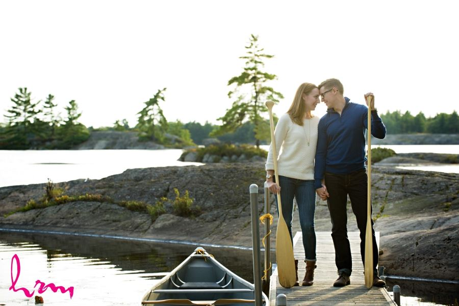 canoe paddle engagement session muskoka