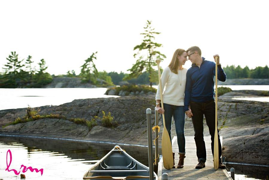 canoe paddle engagement session muskoka