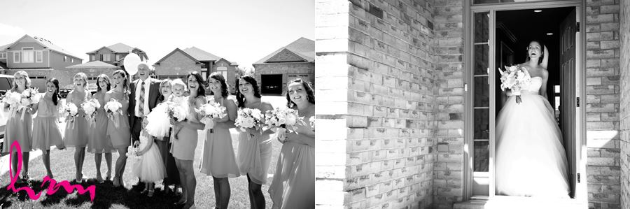 Black and white photos of Leigh and bridesmaids before wedding London ON Wedding Photography