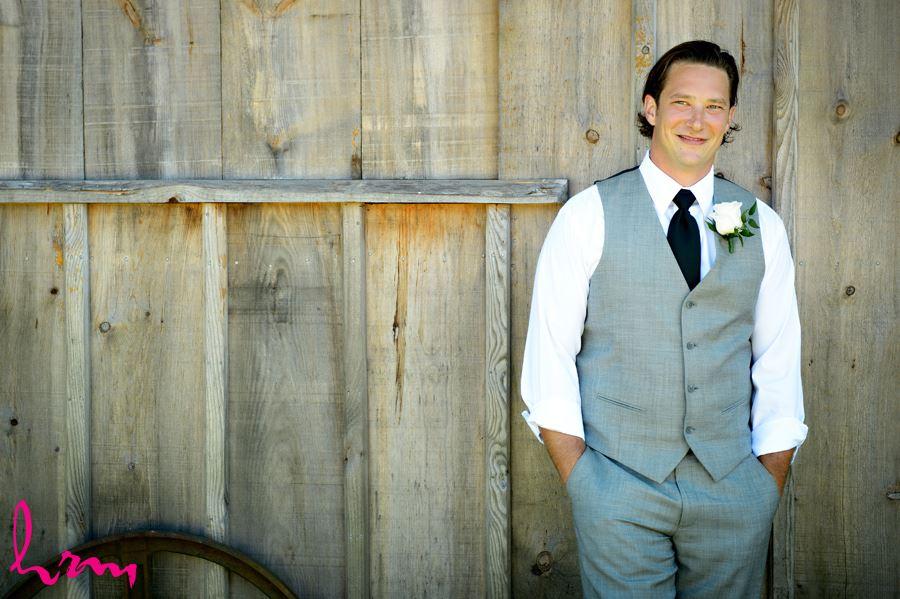 Pete outside barn before wedding London ON Wedding Photography