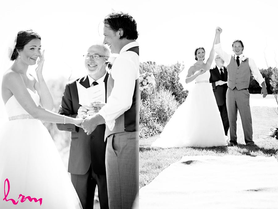 Black and white photos during ceremony at Purple Hill Country Farms London ON Wedding Photography