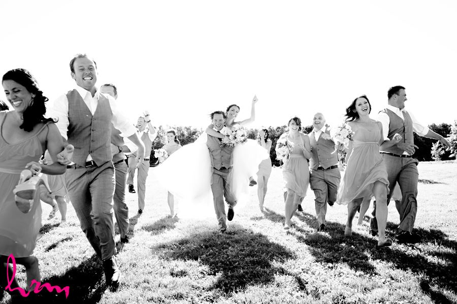 Black and white Bridal party race at Purple Hill Country Farms London ON Wedding Photography