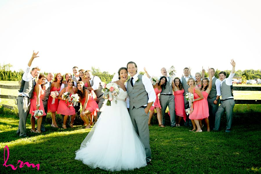 Bridal party cheers at Purple Hill Country Farms London ON Wedding HRM Photography