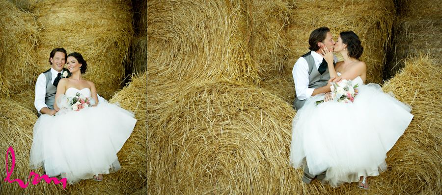 Leigh and Pete in hay bales Purple Hill Country Farms London ON Wedding Photography
