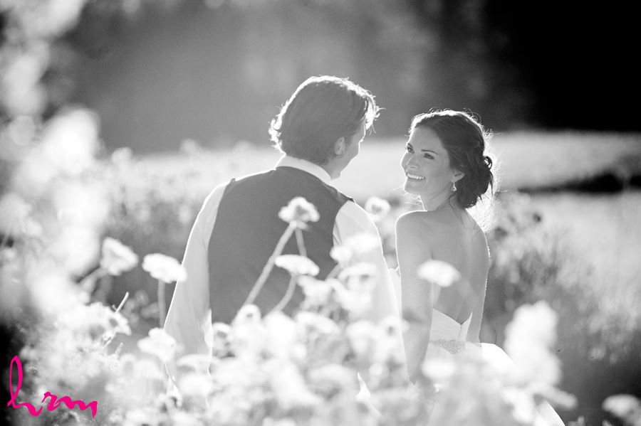 Black and white photo of Leigh and Pete in field Purple Hill Country Farms London ON Wedding Photography