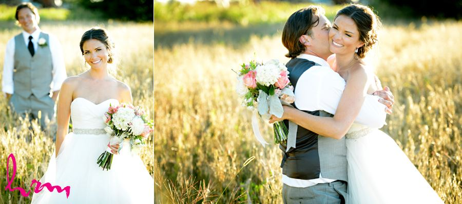 Leigh and Pete in sunlit field Purple Hill Country Farms London ON Wedding Photography