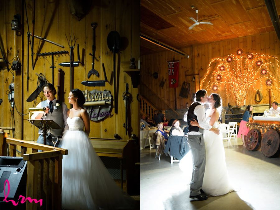 Leigh and Pete speech at Purple Hill Country Farms London ON Wedding HRM Photography