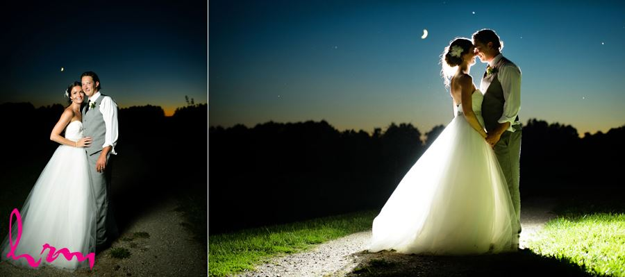 Leigh and Pete in moonlight Purple Hill Country Farms London ON Wedding Photography