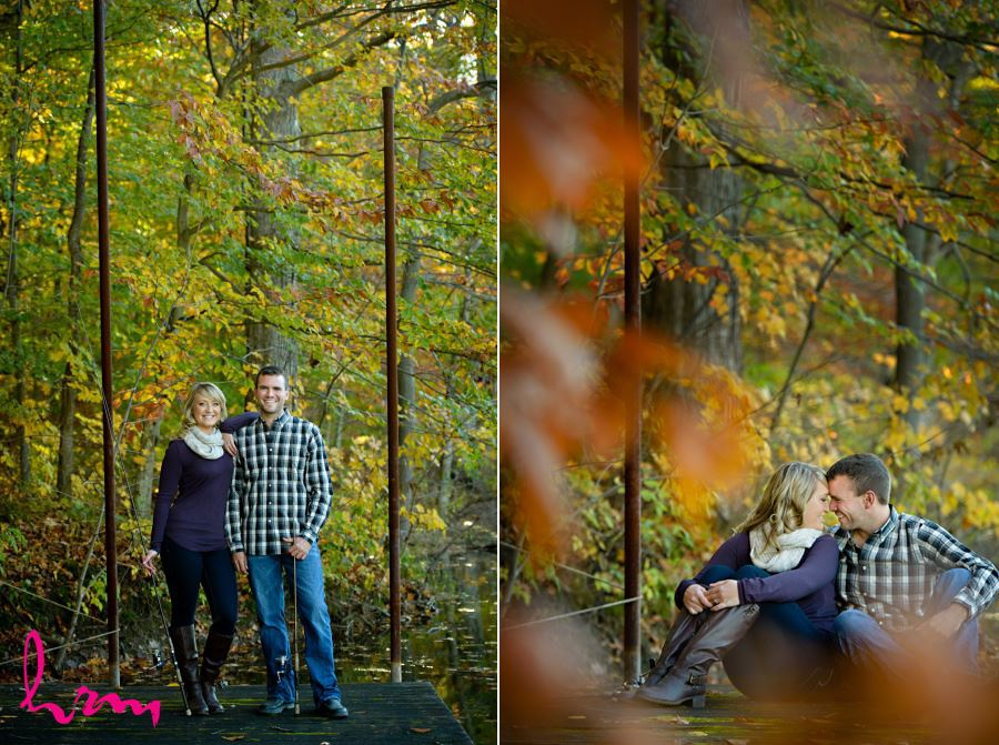 Fall engagement session in wooded area