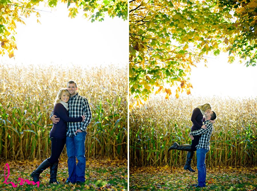 cornfield engagement session on farm
