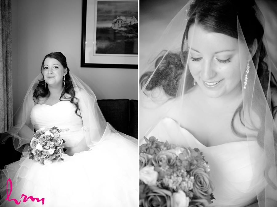 black and white portrait of bride