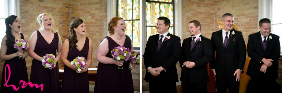 bridesmaids and groomsmen laughing during ceremony