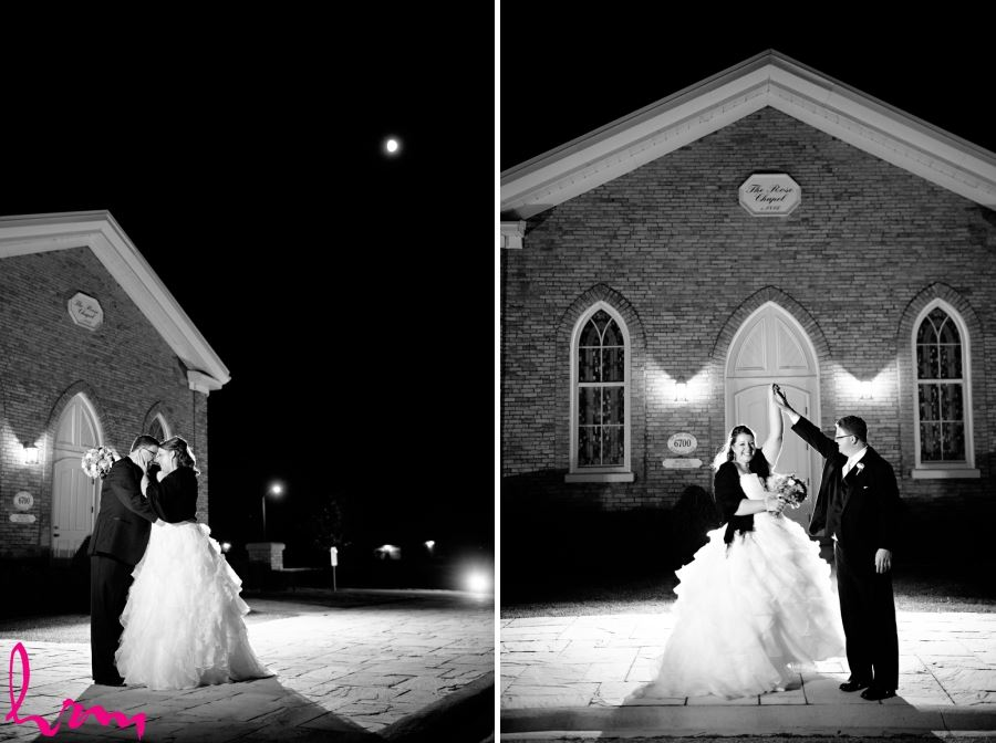 bride and groom outside church at night