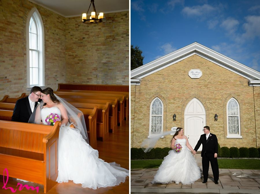 bride and groom portraits inside and outside church