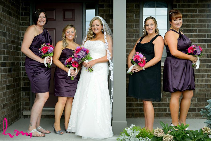 Mallory and bridesmaids outside before wedding St. Thomas ON Wedding Photography